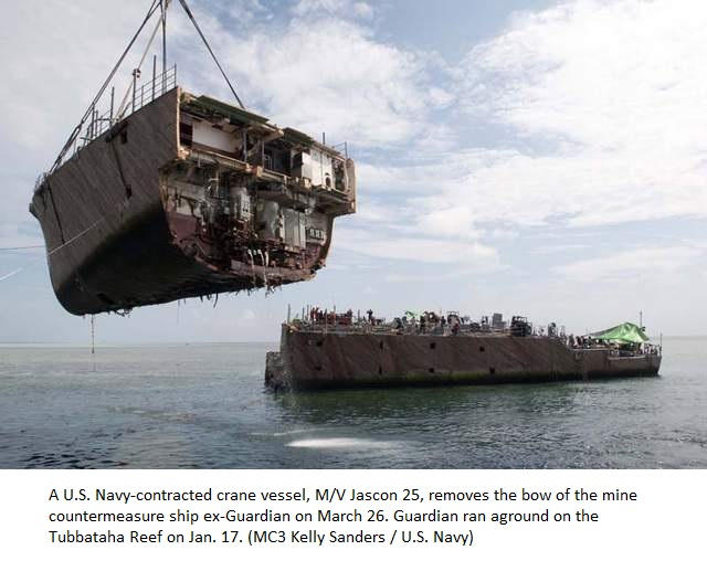 Final Pieces of US Minesweeper being removed from Reef