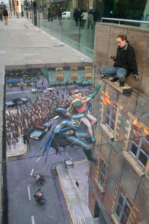 batman optical illusion by Julian Beever