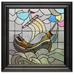 Ship in University Glass in Black Frame