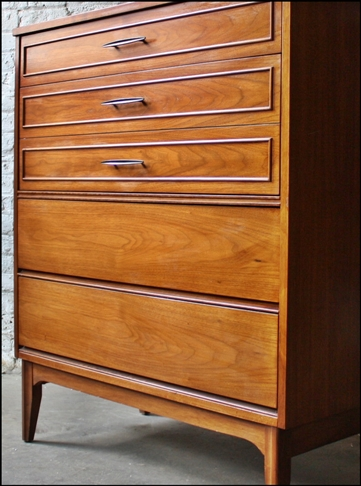 Mid Century Modern Walnut Tall High Boy Dresser Cropped-crop