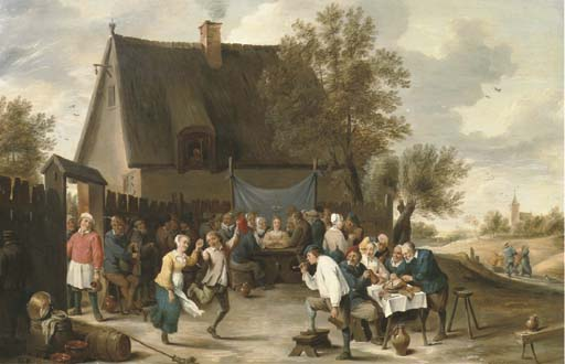 Villagers Celebrating a Wedding Feast Outside a Country Tavern by Matheus Van Helmont_Antwerp 1623_1679 Brussels