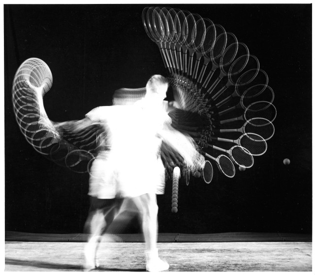 Stoboscopic Study of Man Hitting Tennis Ball by Harold Edgerton_American_1903-1990