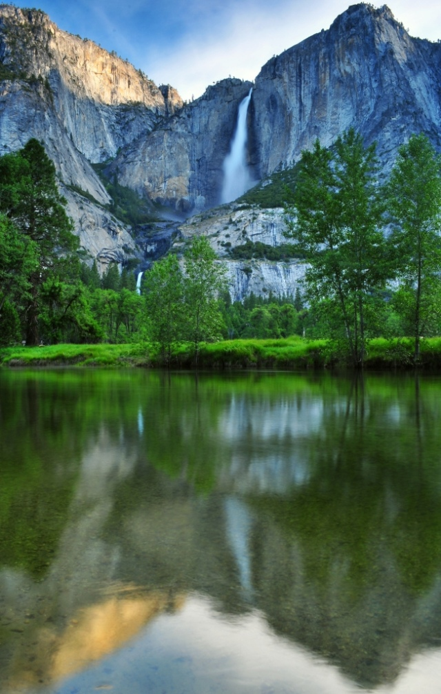 UPPER AND LOWER YOSEMITE FALLS REFLECTED IN THE MERCED RIVER