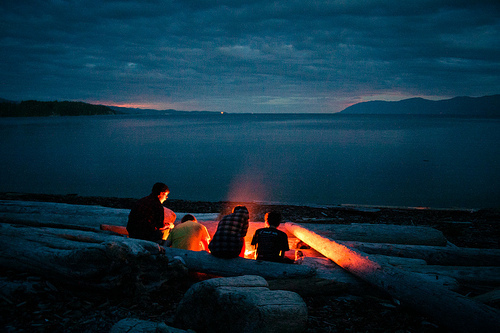 campfire gloaming beach night coals embers starry sky andy mcparrot