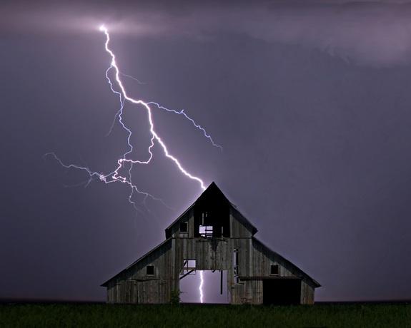 Lightening Strikes barn by Randy Moore