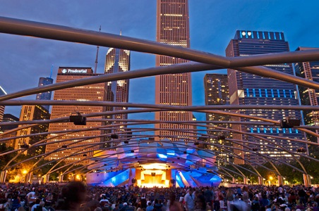 Night concert scene at the Chicago Pritzker Bandshell 4th of July 2014