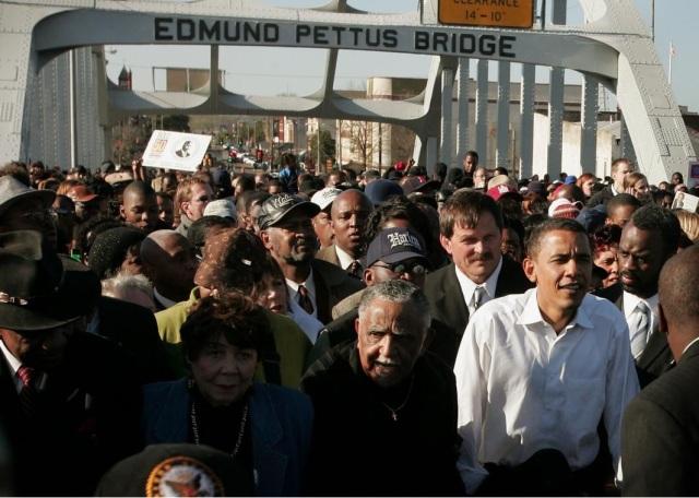 President Barack Obama crossing the Edmund Pettus bridge March 7th, 2015