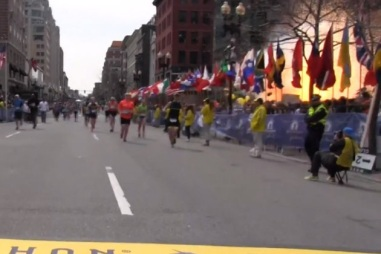 Boston Marathon bomb explodes, April 2013 (Courtesy Boston.com)