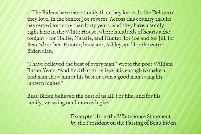President Obamas statement on the passing of Beau Biden