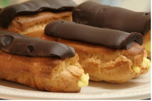 Eclairs with chocolate icing at Cafe Blue Hills