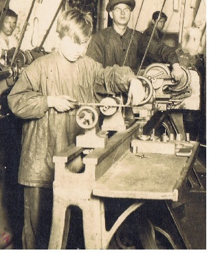 Boy and his belt driven tools